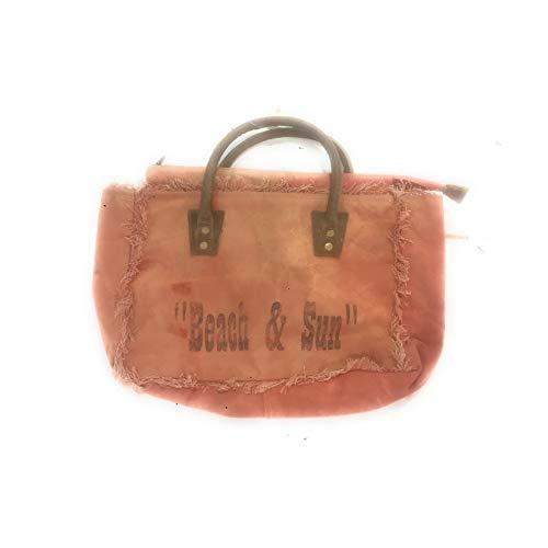 Terre Rouge Handtasche aus Segeltuch, Farbe Altrot mit Aufschrift