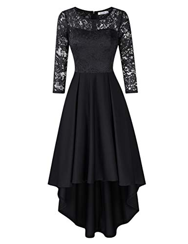 KOJOOIN Damen Abendkleider/Cocktailkleid/Brautjungfernkleider für Hochzeit Unregelmässiges Kurzespitzenkleidangarmchwarz,L