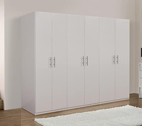 Germanvox Swift - Armario ropero de 6 puertas, para dormitorio, blanco mate, fabricado en Italia, 270 x 53 x 202 cm