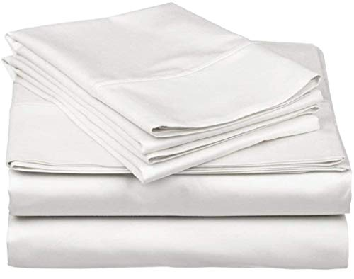 4 Piece 100% Cotton 800-Thread-Count Sheet White Twin XL Sheets Set, Long-Staple Cotton Best-Bedding Sheets for Bed, Soft & Silky Sateen Weave Fits Mattress Upto 14'' Deep Pocket