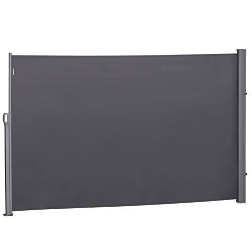 Outsunny Seitenmarkise, Sichtschutz, Sonnenschutz, Seitenrollo, Blickschutz, Polyester, Grau, 3 x 1,8 m