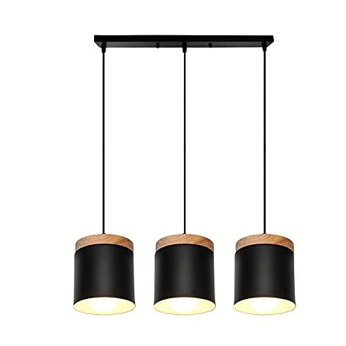 Lámpara Colgante de Madera Metal E27 Lamparas Techo Comedor Habitacion Luz de Techo del LED Lámpara de Techo Interior 60W (Negro, Techo rectangular)
