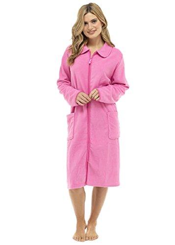 Dames Polar fleece rits voorzijde badjas huisjas robe