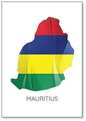 Kühlschrankmagnet Mauritius mit offizieller Flagge