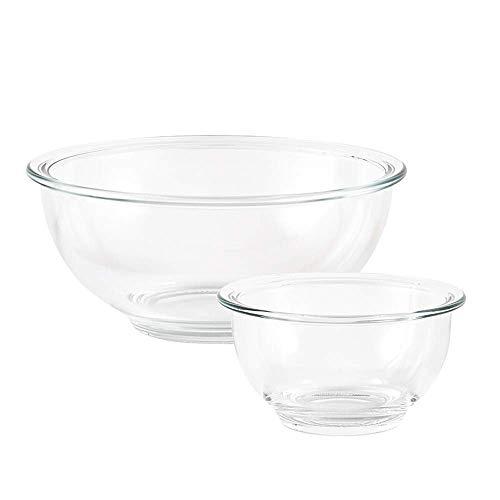 PLLP Neuheit Home Schüsseln und Geschirr, Hitze, beständige Glas Salatschüssel 2-teiliges Set, Besteck Western Dish Pasta Steak Obstsalat Frühstücksküche, geeignet für Mikrowelle Geschirrspüler Steri