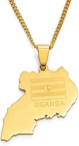 JSYHXYK Collar Collar De Acero Inoxidable con Colgantes De Mapa De Uganda Y Collares De Cadena para Mujeres Y Hombres, Mapas De Color Dorado, Regalos De Joyería
