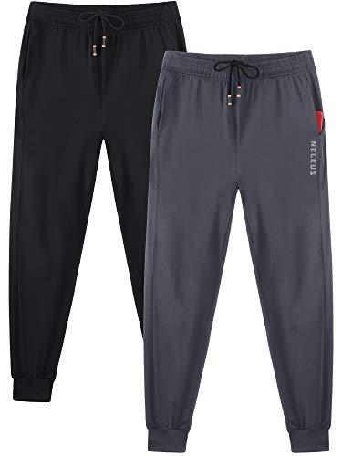 Neleus Men's 2 Pack Athletic Sweatpants Running Jogger Pants,7010,Black/Grey,Large