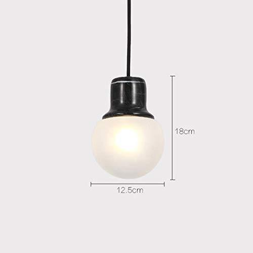 Kreative Persönlichkeit kleiner Kronleuchter, einfache Esszimmerlampe, Schlafzimmer Nachttischlampe, runde Marmorglas Kronleuchter@Schwarz