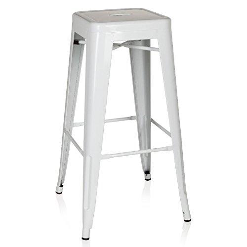 hjh OFFICE 645012 taburete de bar VANTAGGIO HIGH métalico blanco, apilable, acero estable