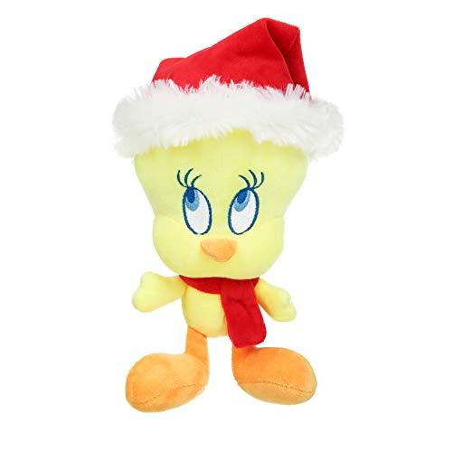 LOONEY TUNES Warner Bros Tweety Bird Santa Hat Plüschfigur Hundespielzeug, 20,3 cm | Weicher Stoff Plüsch Santa Hundespielzeug Gelb Tweety Bird Hundespielzeug für alle Hunde