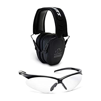 WALKER'S Game Ear Range Safety Bundle: Razor Slim Passive Hearing Protection Muffs & Crosshair Protective Glasses