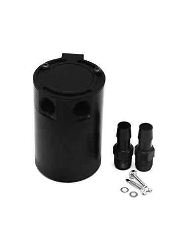Pangyan990 Autolüfter-Öldose Compact Baffled 2 Port Oil Catch Can Tank Universal-Aluminium-Luft-Ölabscheider Filter Wasseröl Schwarz