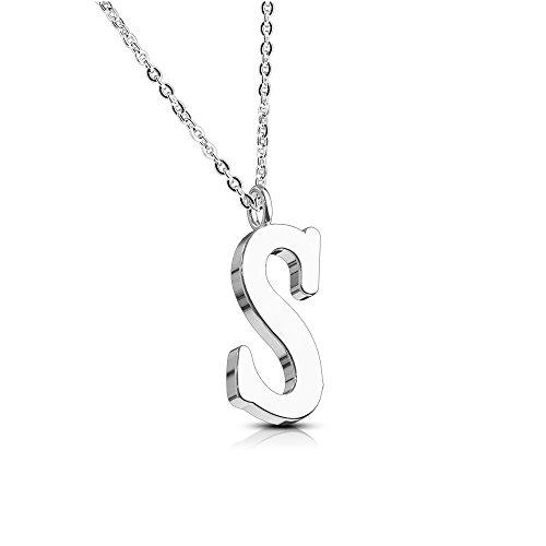 Bungsa Buchstabe S Halskette Silber - Buchstaben-ANHÄNGER S Kette - Alphabet Kette für Frauen & Männer - aus Edelstahl - Schmuck für Jungen & Mädchen