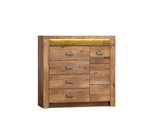 KRYSPOL Kommode Indiana I17 Anrichte, Mehrzweckschrank mit 4 Schubladen, Farbasuwahl, Modern Design (Esche Hell, ohne Beleuchtung)