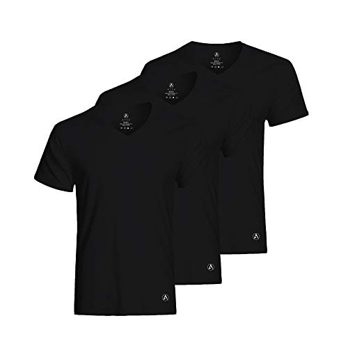 ATEK Men's Stay Tucked Cooling Undershirt | Moisture Wicking Sweatproof Breathable V Neck T Shirt | Black, Extra Long, X-Large
