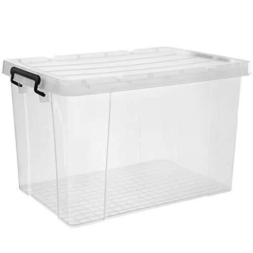 Caja de Almacenamiento de Plástico, Caja de Almacenamiento de Juguetes de Ropa Interior Baño Cocina Sala de Estar con Tapa Transparente Alta Capacidad (Capacidad: 100L), DTTX001, 80L, 80L