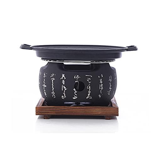 YAOBAO BBQ Grill Holzkohlegrill Babecue Grill Runder Tragbarer Grill Im Japanischen Stil Tischgrill Mit Drahtgitter Und Holzfuß Für Yakiniku, Robata, Yakitori, Takoyaki Und BBQ,Small