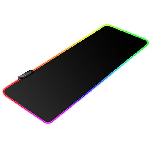 """BZseed RGB Gaming Mouse Pad X Large, Black Extended LED Mouse Pad 30% Larger Size(31.5""""×11.8""""), Anti-Slip Base Computer Keyboard Mouse Mat for Gaming Computer/Laptops/Office Desk"""