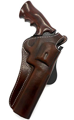 """TAGUA Premium Deluxe Right Hand Rotating Paddle and Belt Holster with Reinforced Thumb Break in Dark Brown Leather for 6"""" BARREL SMITH & WESSON S&W N-FRAME, RUGER GP100, DAN WESSON and TAURUS .357"""