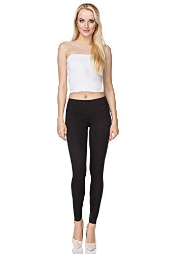 FUTURO FASHION - Damen Leggings aus Baumwolle - knöchellang - weich - Übergrößen - Schwarz - 46 Klassische Bundhöhe