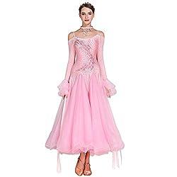 Pink Long-Sleeved V-Neck Standard Dance Dress
