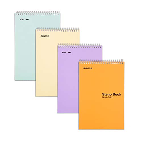 Mintra Office Steno Book - 6x9 - Pastel Colors 4 Pad/Pack - Graph Ruled-Paper (Assorted Color Covers) 70 Sheets - Notebook for writing notes in school, university, college, work, office