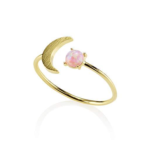 NAMANA Opal-Ring für Damen, offener Goldring mit zierlichem gebürstetem Finish und einem sichelförmigen Mondmotiv mit einem künstlichen blauen oder rosa Opal, verstellbarer Damenring (Rosa Opal)