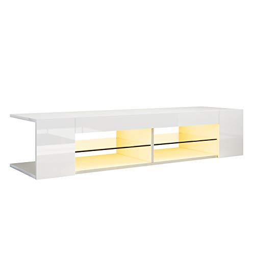SONNI Mueble TV 130cm Blanco Brillo,Mesa TV Salón con LED Luz Adjustable 135x39x30cm