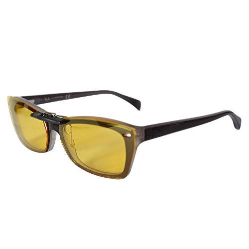 Custom Polarized Clip On Sunglasses for Ray-Ban RB5255 (RX5255) 51-16-135(No Frame) night vision Yellow