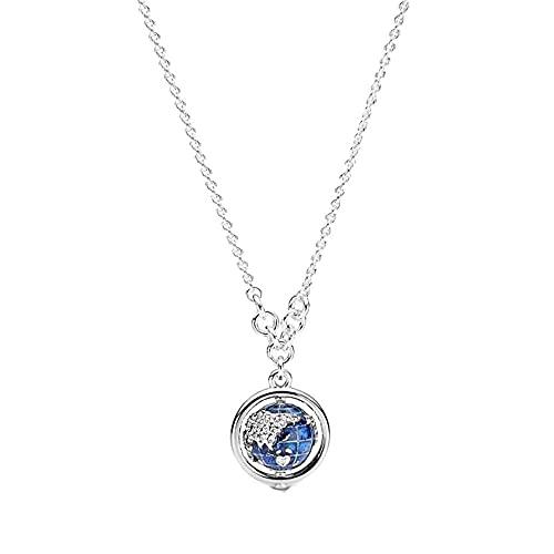 QWKLNRA Halsketten Für Damen Anhänger Halskette 925 Sterling Silber Kreative Globus Exquisite Stilvolle Halskette Natürliche Einzigartige Elegante Zirkonia Halskette Frauen Schmuck Jubiläumsgesc