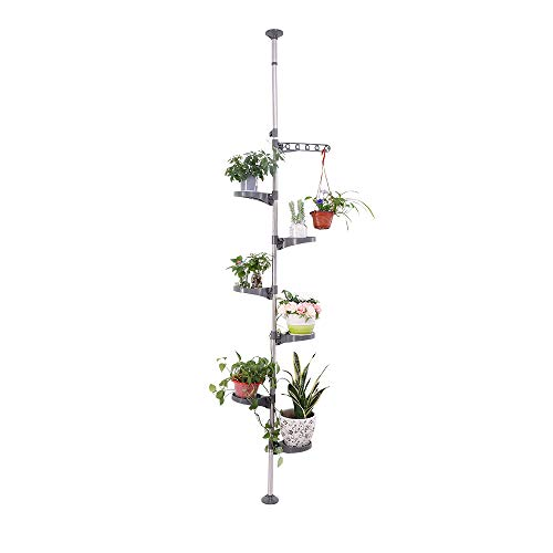 BAOYOUNI 7-Tier Indoor Plant Pole Spring Tension Rod Expandable Flower Pots Display Rack Stand Hanger Metal Corner Storage Shelf, Grey