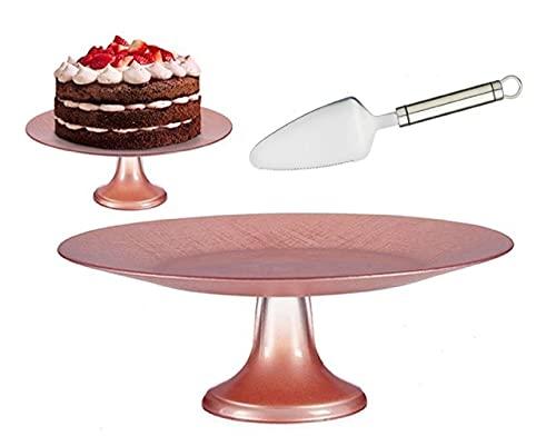 Tartera vidrio 33cm con pie rosa pastel - plato para portres de...