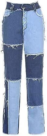 Trieskull Pantaloni Patchwork Hight Vita Distressed Etero Denim Jeans delle Donne di Modo Una Linea di dellAnnata dei Pantaloni della Matita