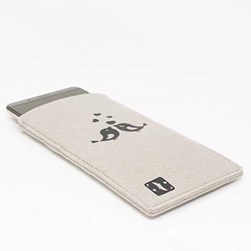MyCrazyCover Filz Hülle Handysocke Handyschutz Schutzhülle Handytasche Handyhülle Filztasche Filzhülle kompatibel mit Huawei iPhone Samsung HTC Xiaomi LG OnePlus Sony Beige/Schwarz S Vögel