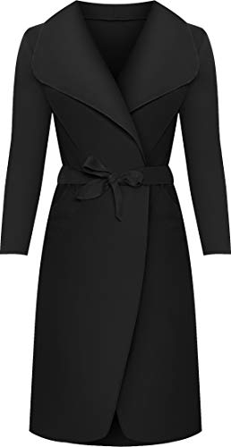 WearAll - Lange Gürtel Taschen öffnen Coat Damen Promi Wasserfall Jacke Cape - Schwarz - 44-50