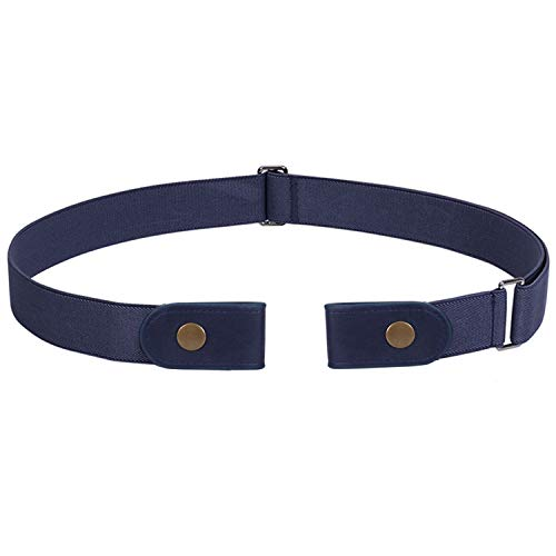 No Buckle Stretch Belt For Women Men Elastic Waist Belt Up to 72 Inch for Jeans Pants,Blue,Pants Size 31-50 Inches