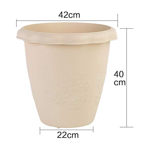 Imitation céramique Bol Long Relief Pot de Fleur Résine Rond Charnu Pot de Fleur-A 28L