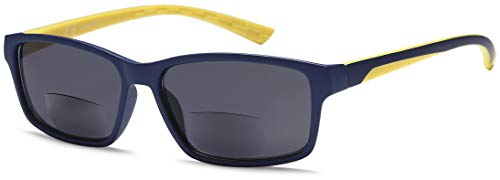 Newvision® - Gafas bifocales premontadas con lentes oscuras, 100% de protección contra los rayos UV, gafas de sol bifocales para hombre, estilo deportivo, gafas de exterior, NV1133 (+2.00, amarillo)