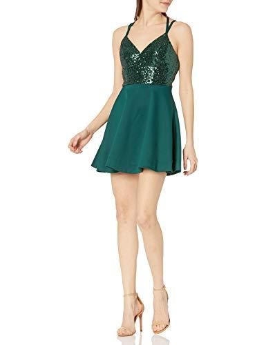Speechless Women's Sleeveless Sequin-Top Skater Dress, Green, 3