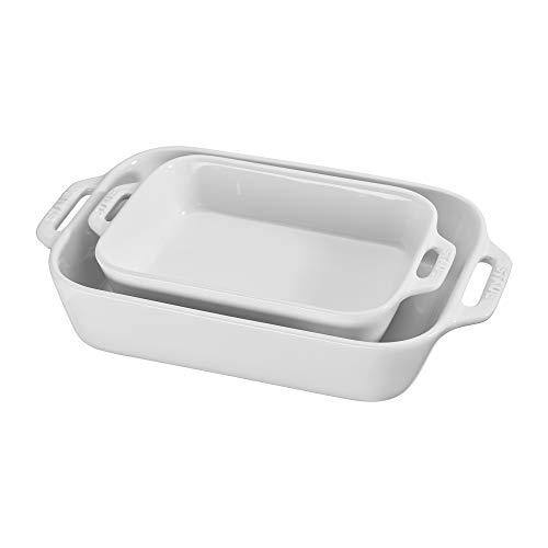 STAUB Ceramics Rectangular Baking Dish Set, 2-piece, White