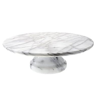 Creative Home Marble Cake Plate on Pedestal, 10  x 10 , White