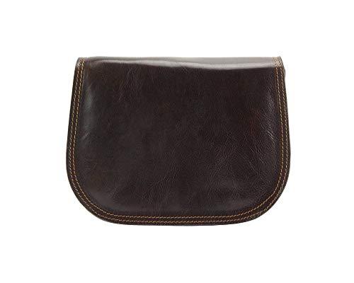 Florence Leather Market Bolso con bandolera Ines en piel de becerro suave - 6568 - Bolsos (Marròn oscuro)
