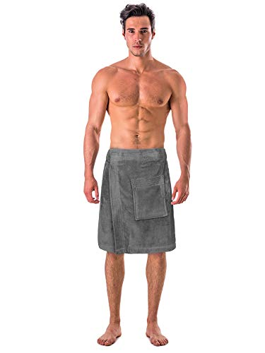 Turkish Cotton Terry Velour Adjustable Body Wrap Towel for Men(Gray, One Size)