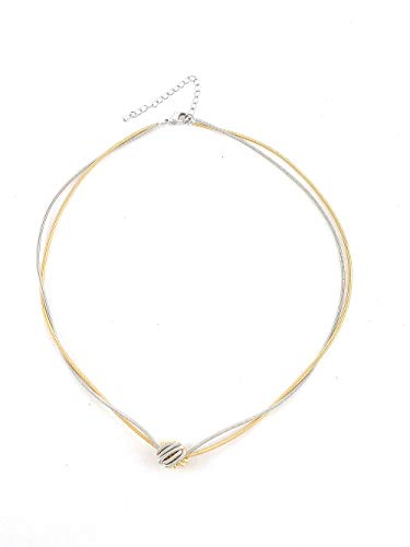 The Island Pearl Piano Wire Necklace Gold and Silver