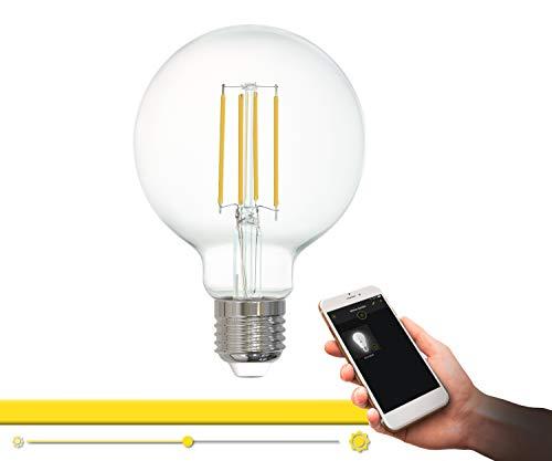 EGLO connect LM_LED_E27 Lampe, Smart Home Vintage Glühbirne klar, LED Globe 6 Watt (entspricht 60 Watt), 806 Lumen, E27 LED dimmbar, warmweiß, 2700 Kelvin, LED Leuchtmittel G80, Ø 8 cm