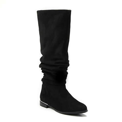 HERIXO Damen Schuhe 2-in-1 Overknee hoher weicher Stiefel locker faltig Falten gefaltet doppellagig Wildlederimitat lang gestaucht Dicke Waden breiter Schaft (40 EU, Black)