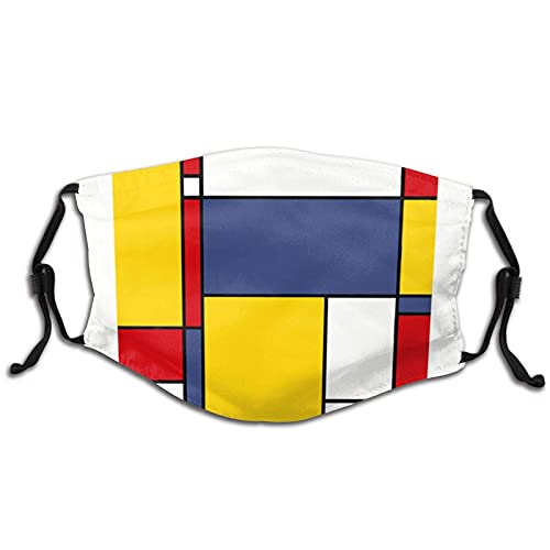 Mondrian Art - Pasamontañas ajustables lavables y reutilizables para unisex con 2 filtros