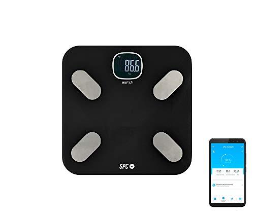 SPC Atenea Fit - Báscula de análisis aorporal inteligente Wi-Fi, para usuarios ilimitados (compatible con Amazon Alexa y Google Home) – Color Negro