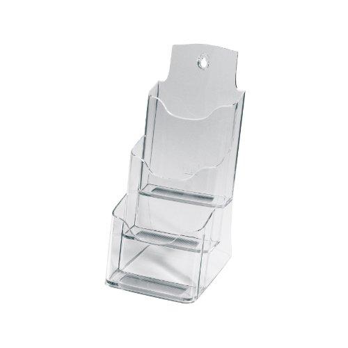 SIGEL LH133 Tisch-Prospekthalter DIN lang/A6 aus Acryl mit 3 Fächern, transparent / Prospektständer - weitere Größen
