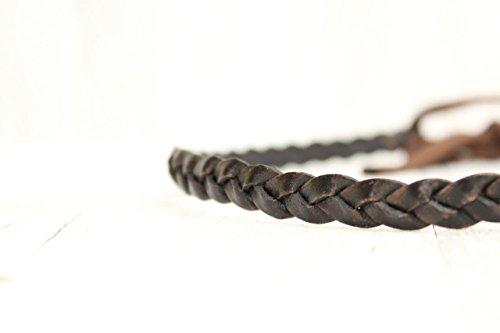 Haarband aus Echtleder - 3fach geflochten, in BRAUN.